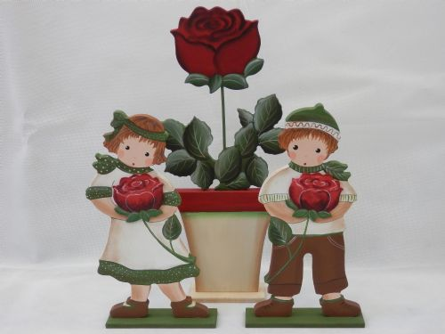 Dark Red Rose Children and Pot - Set of 3 - Large